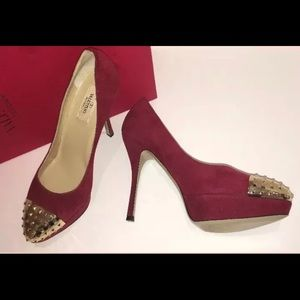 Valentino Studded Gold Toe Cap Pump Red Suede